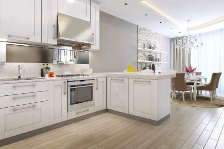 white kitchen example of staging home for sale