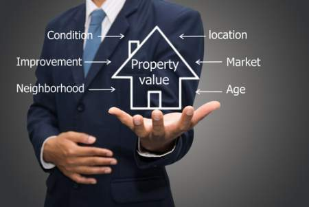 real estate market concept of agent holding property value images